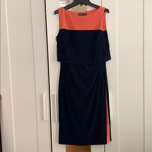 Flattering coral/navy blue party dress